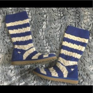 Sweater Ugg Boots Blue White Stripe Size 7